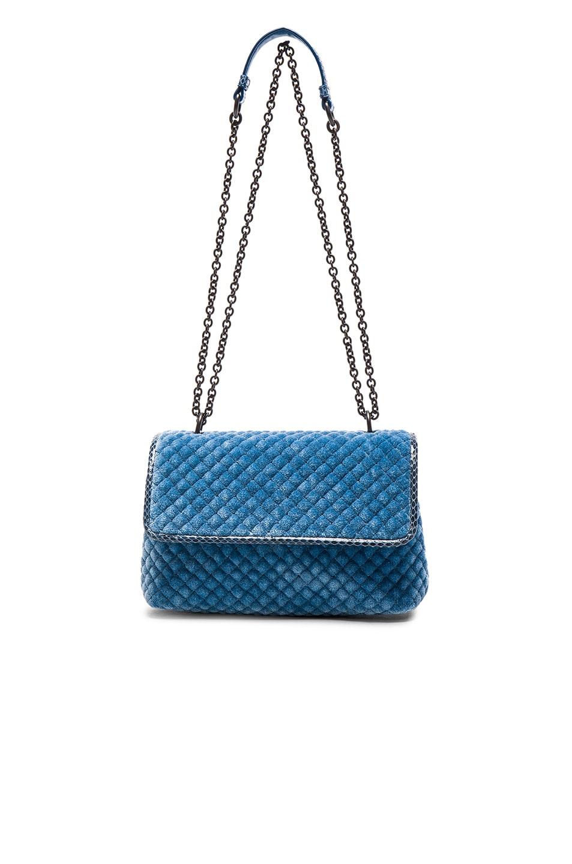 8b3d946fdbf Image 1 of Bottega Veneta Velvet Foldover Bag in Peacock