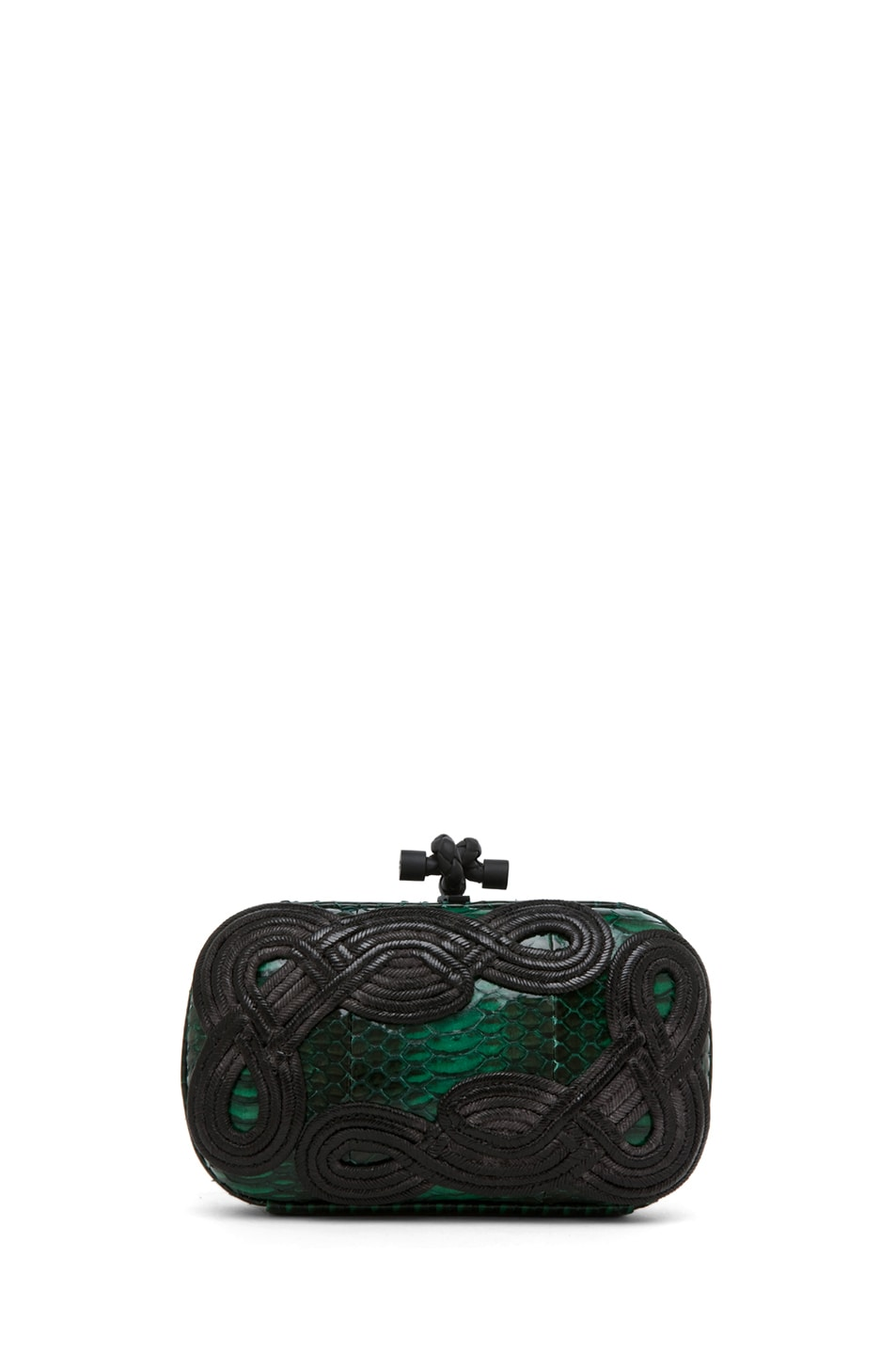 Image 1 of Bottega Veneta Knot Snakeskin Passamaneria Clutch in Green