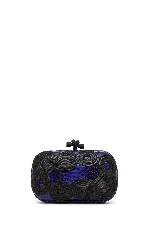 Image 1 of Bottega Veneta Knot Snakeskin Passamaneria Clutch in Purple