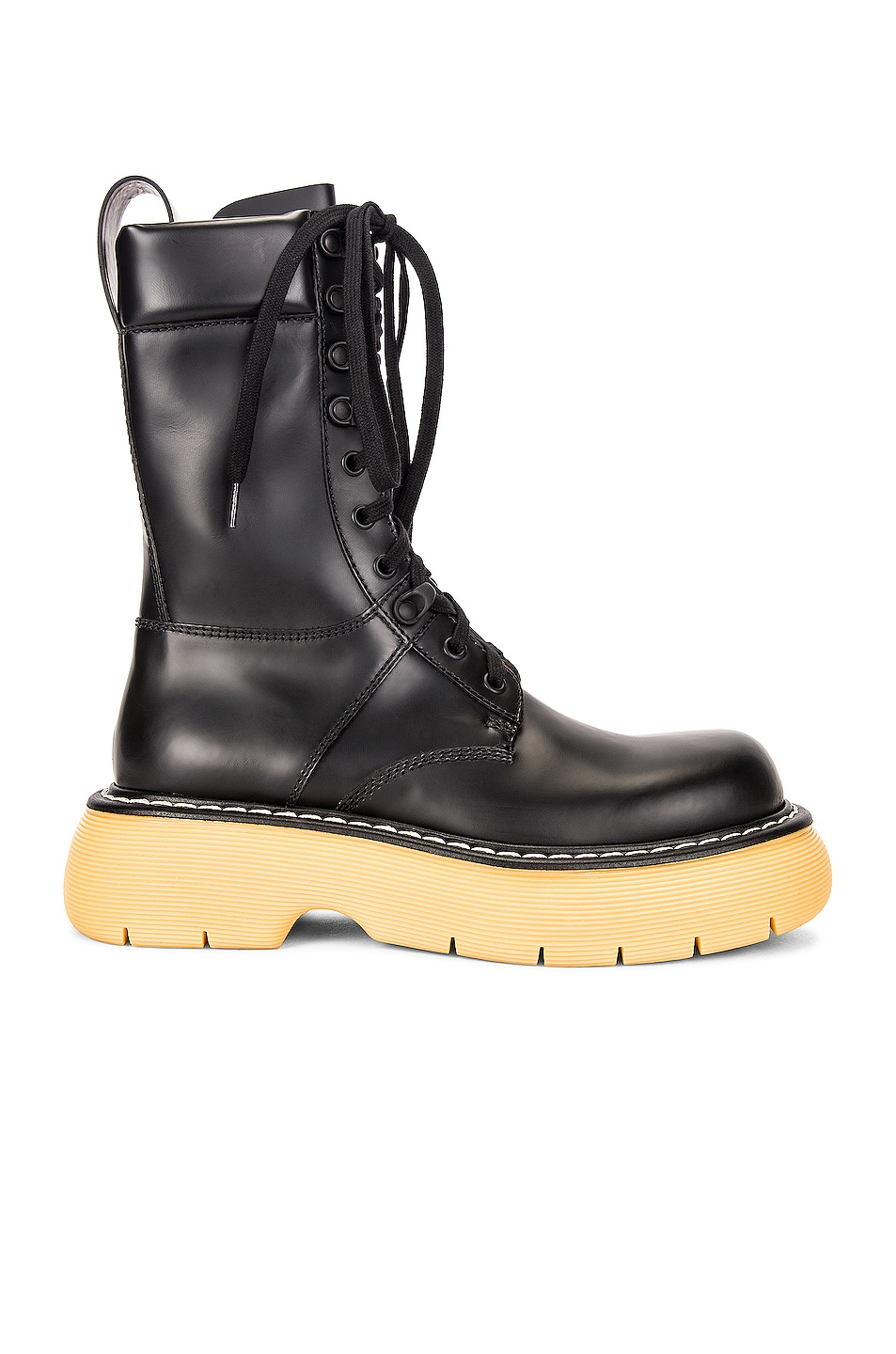 Image 1 of Bottega Veneta Lace Up Boots in Black & Natural