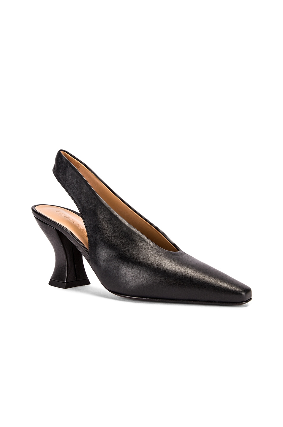 Image 2 of Bottega Veneta Almond Slingback Kitten Heels in Black