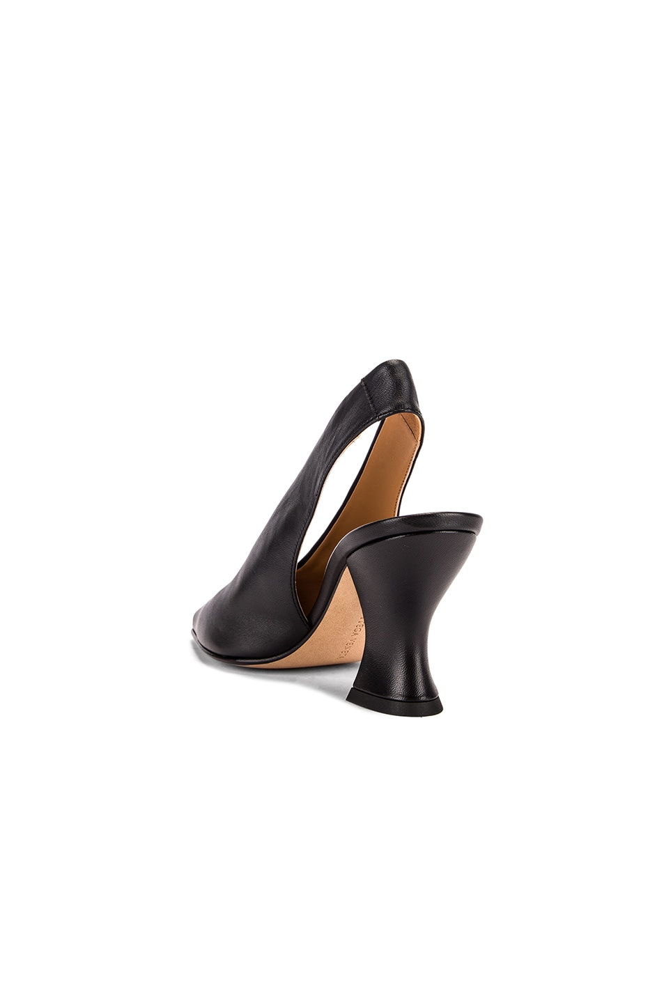 Image 3 of Bottega Veneta Almond Slingback Kitten Heels in Black