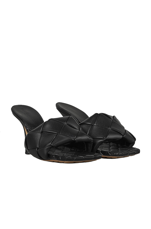 Image 2 of Bottega Veneta Leather Woven Sandals in Black