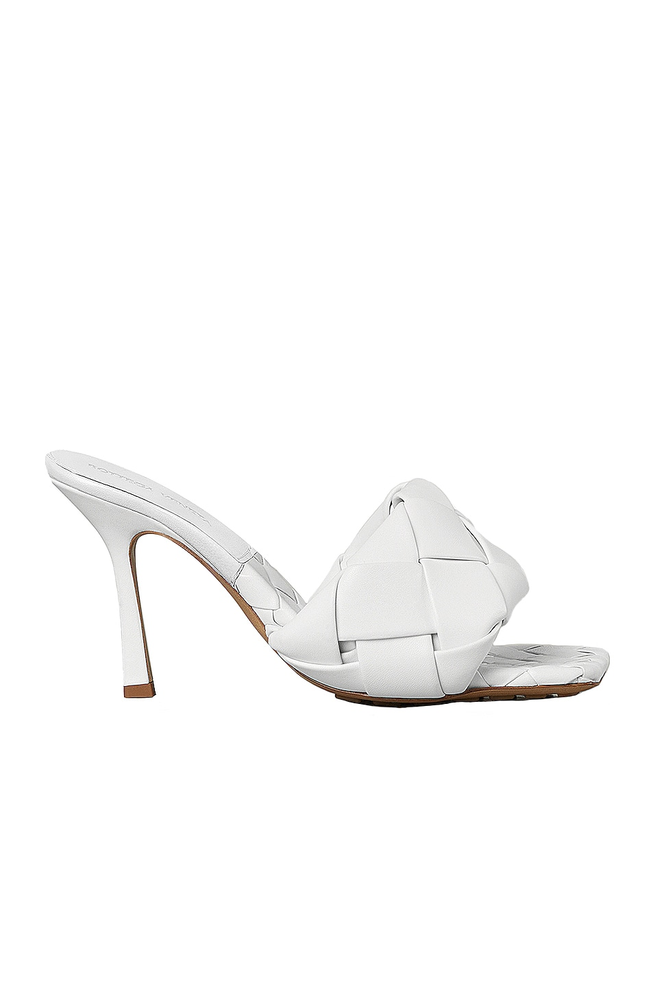 Image 1 of Bottega Veneta Leather Woven Sandals in Optic White
