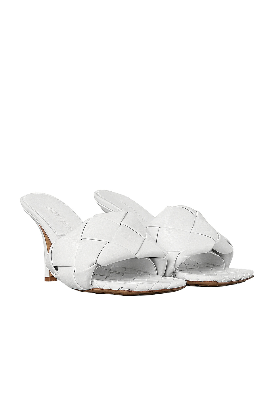 Image 2 of Bottega Veneta Leather Woven Sandals in Optic White
