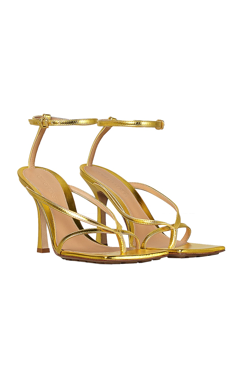 Image 2 of Bottega Veneta Ankle Strap Heels in Gold