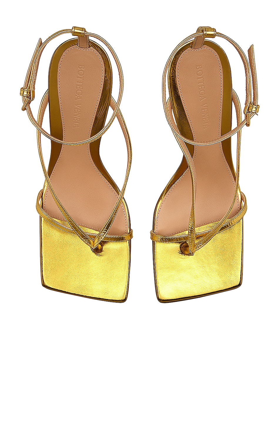 Image 4 of Bottega Veneta Ankle Strap Heels in Gold
