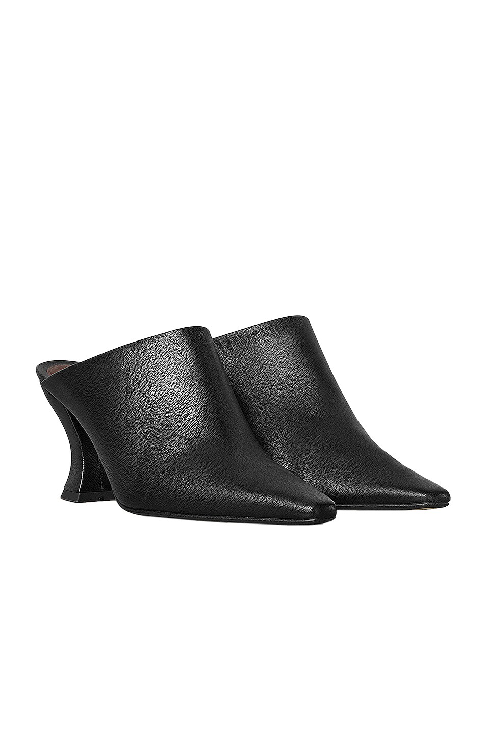 Image 2 of Bottega Veneta Leather Pointed Toe Mules in Black