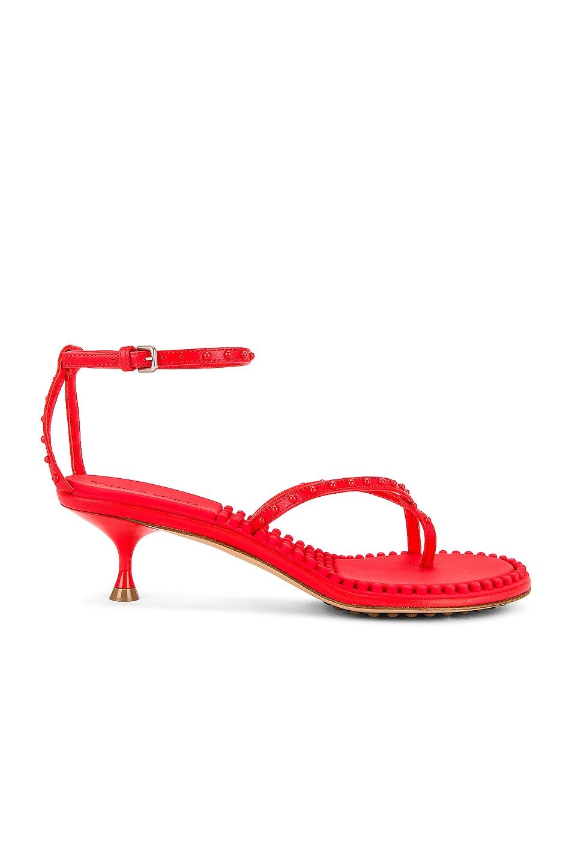 Image 1 of Bottega Veneta Dot Ankle Strap Sandals in Tomato