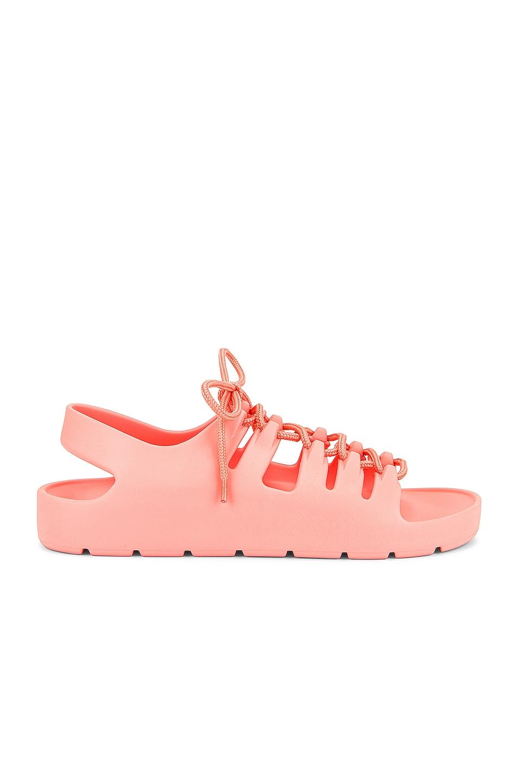 Image 1 of Bottega Veneta Jelly Lace Up Sandals in Flamingo