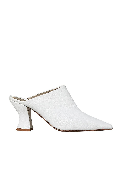 Image 1 of Bottega Veneta Leather Pointed Toe Mules in Optic White
