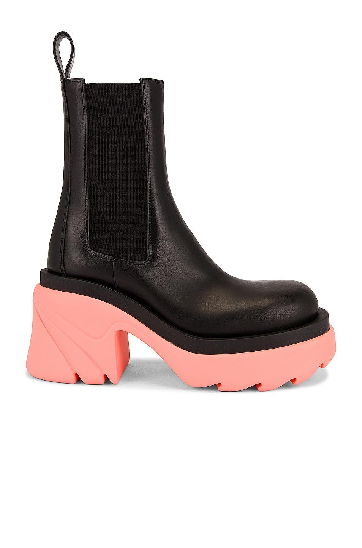 Image 1 of Bottega Veneta Flash Boots in Black & Flamingo