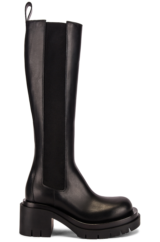 Image 1 of Bottega Veneta Lug High Top Chelsea Boots in Black