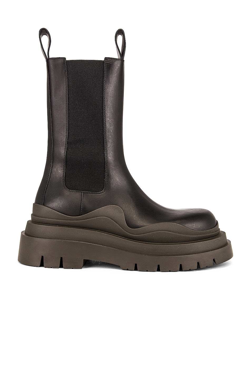 Image 1 of Bottega Veneta Tire Chelsea Boots in Black & Camping