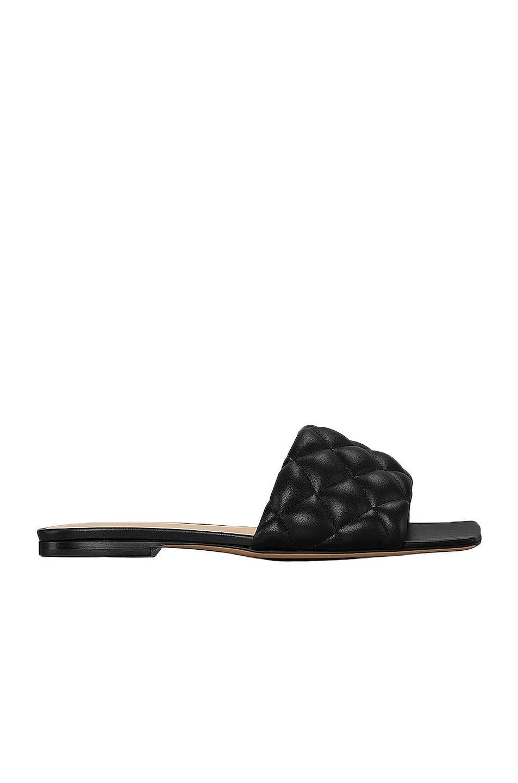 Image 1 of Bottega Veneta Leather Quilted Slides in Black
