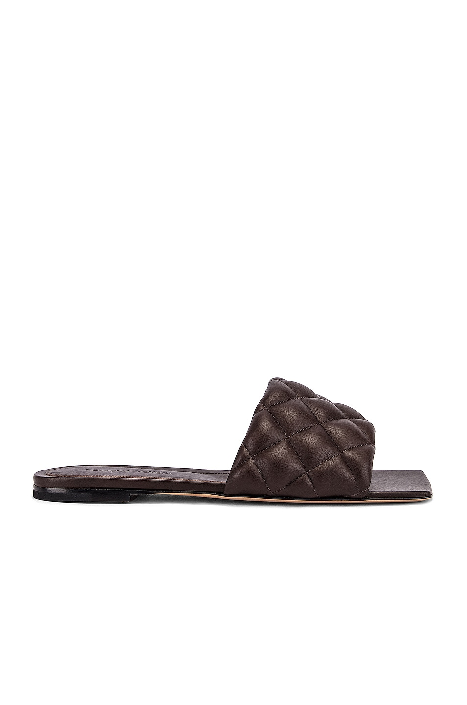 Image 1 of Bottega Veneta Leather Quilted Slides in Chocolate