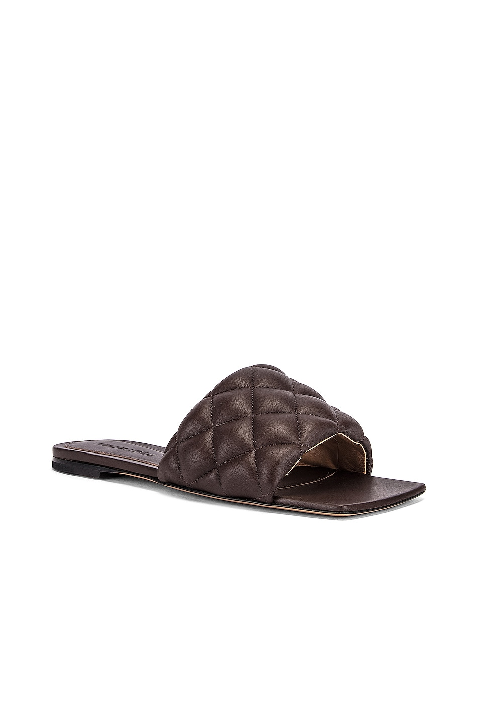 Image 2 of Bottega Veneta Leather Quilted Slides in Chocolate