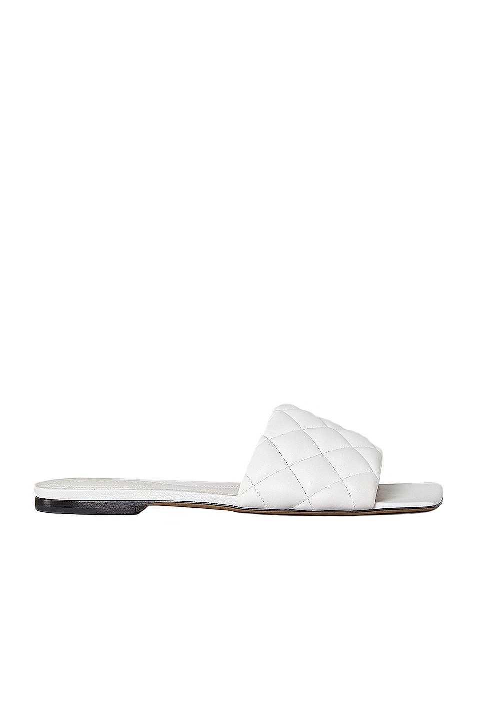 Image 1 of Bottega Veneta Leather Quilted Slides in Optic White