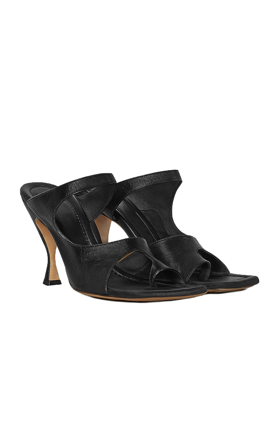 Image 2 of Bottega Veneta Leather Cutout Sandals in Black