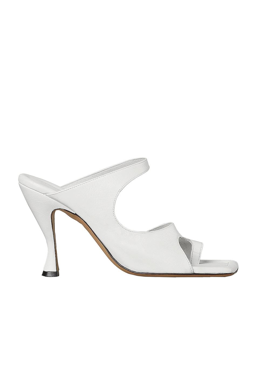 Image 1 of Bottega Veneta Leather Cutout Sandals in Optic White