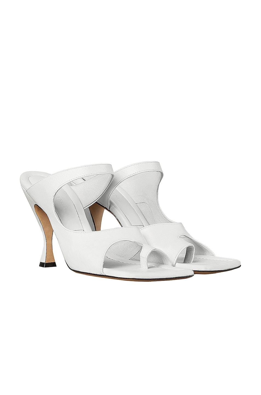 Image 2 of Bottega Veneta Leather Cutout Sandals in Optic White