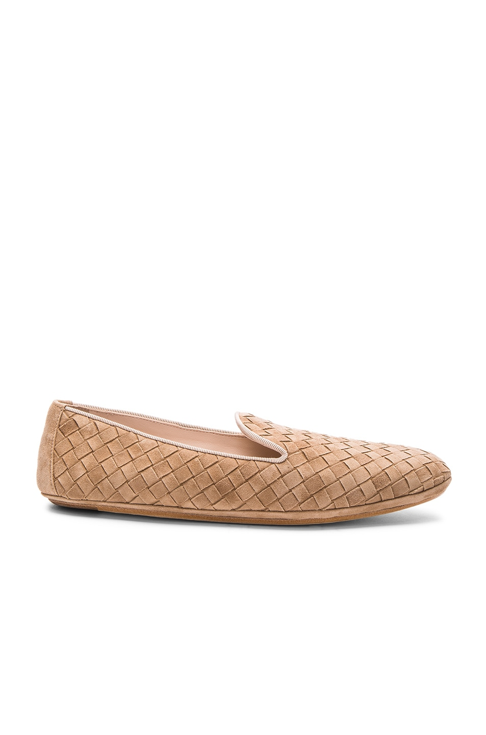 Image 1 of Bottega Veneta Woven Suede Flats in Camel