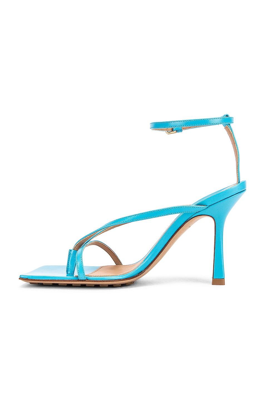 Image 5 of Bottega Veneta Leather Stretch Toe Heels in Sky Blue
