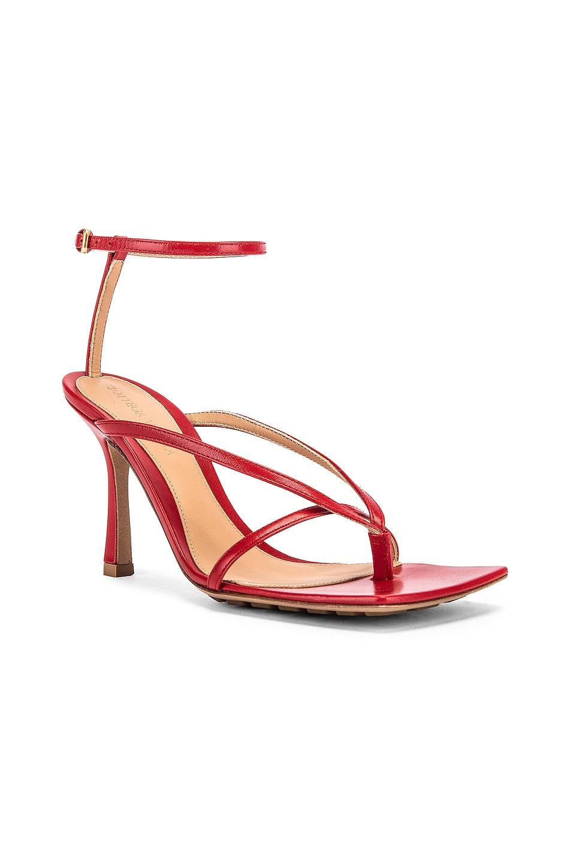 Image 2 of Bottega Veneta Leather Stretch Toe Heels in Bright Red