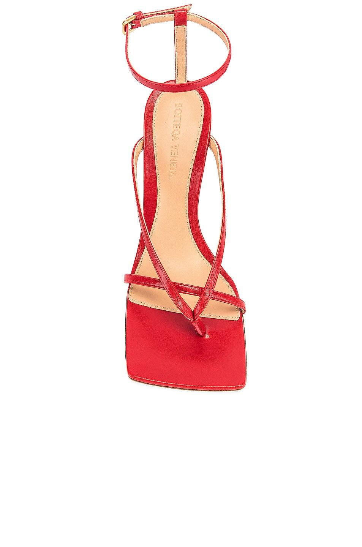 Image 4 of Bottega Veneta Leather Stretch Toe Heels in Bright Red