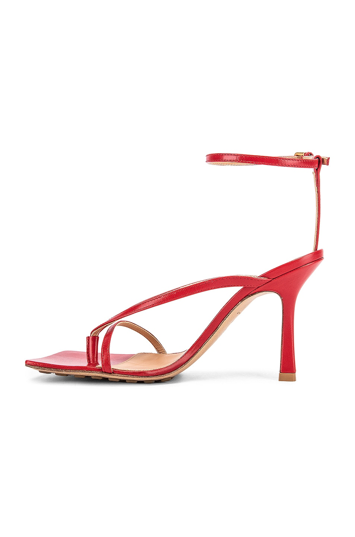 Image 5 of Bottega Veneta Leather Stretch Toe Heels in Bright Red