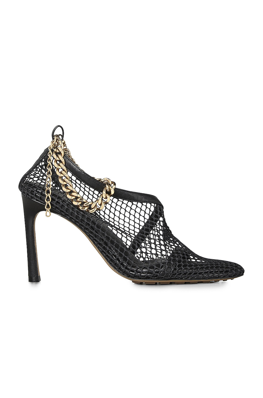 Image 1 of Bottega Veneta Mesh Chunky Chain Heels in Black & Gold