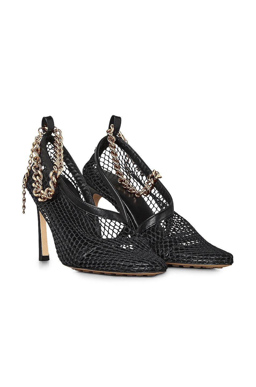 Image 2 of Bottega Veneta Mesh Chunky Chain Heels in Black & Gold