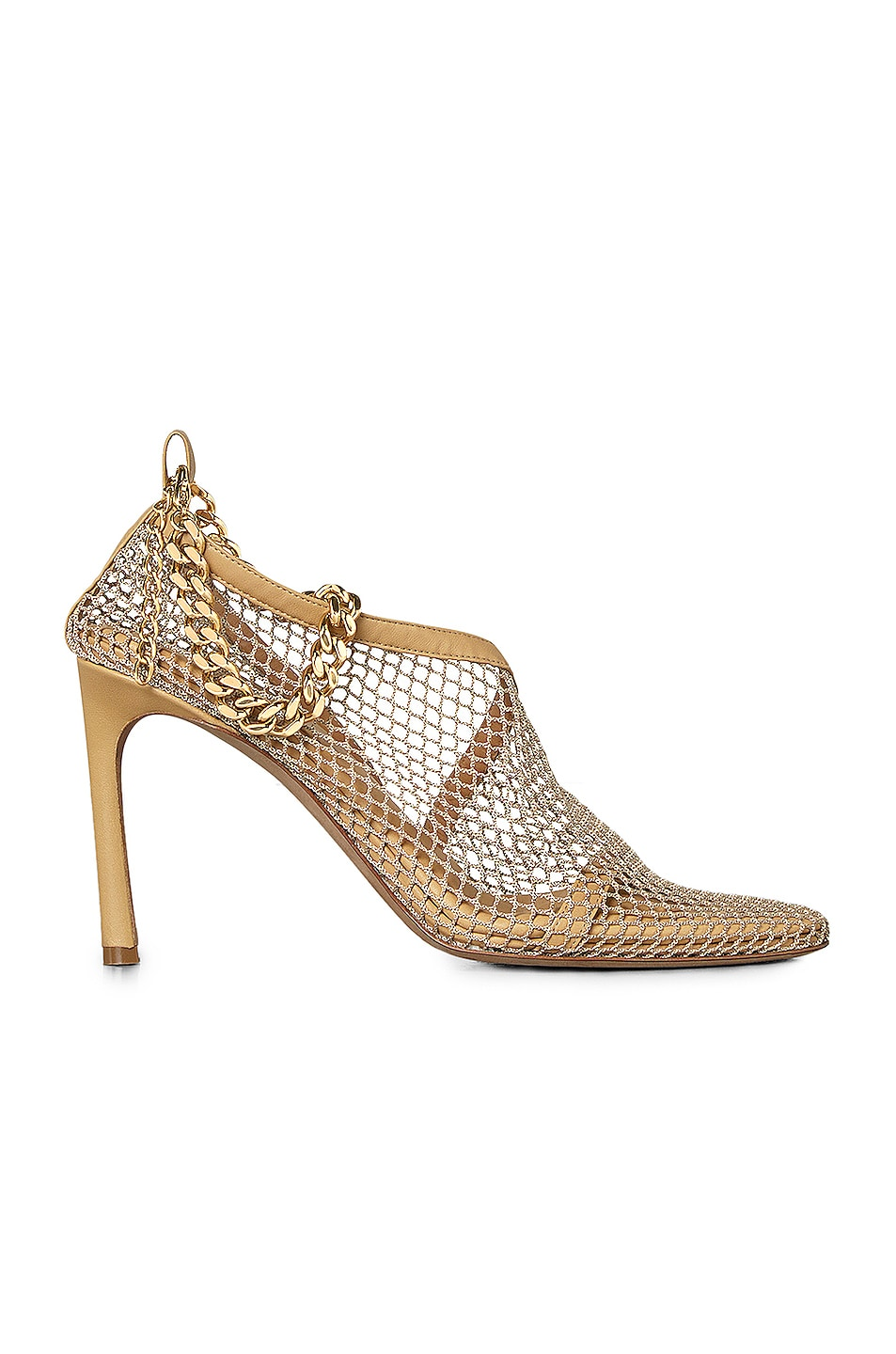 Image 1 of Bottega Veneta Mesh Chunky Chain Heels in Beige & Gold