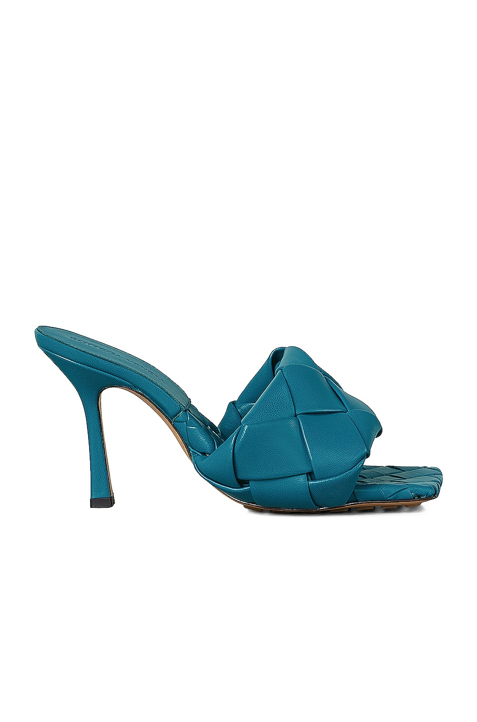 Image 1 of Bottega Veneta Lido Leather Woven Sandals in Vintage Blue