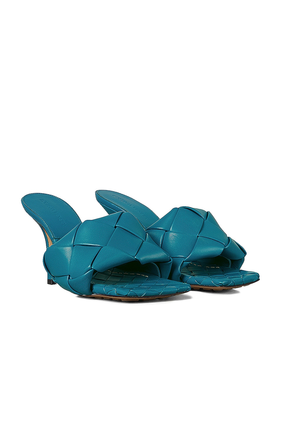 Image 2 of Bottega Veneta Lido Leather Woven Sandals in Vintage Blue