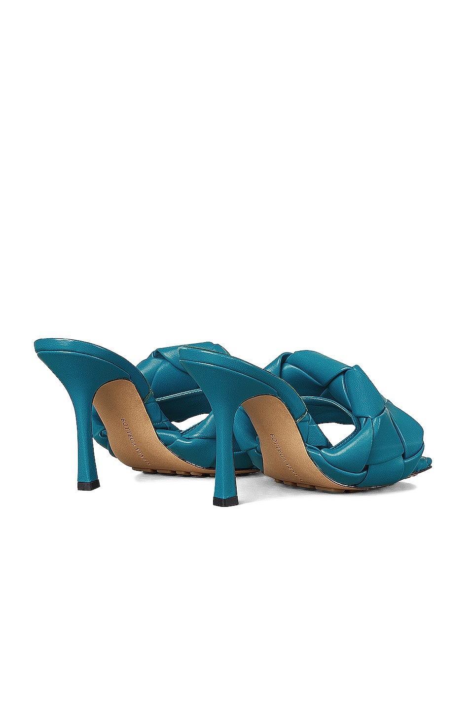 Image 3 of Bottega Veneta Lido Leather Woven Sandals in Vintage Blue