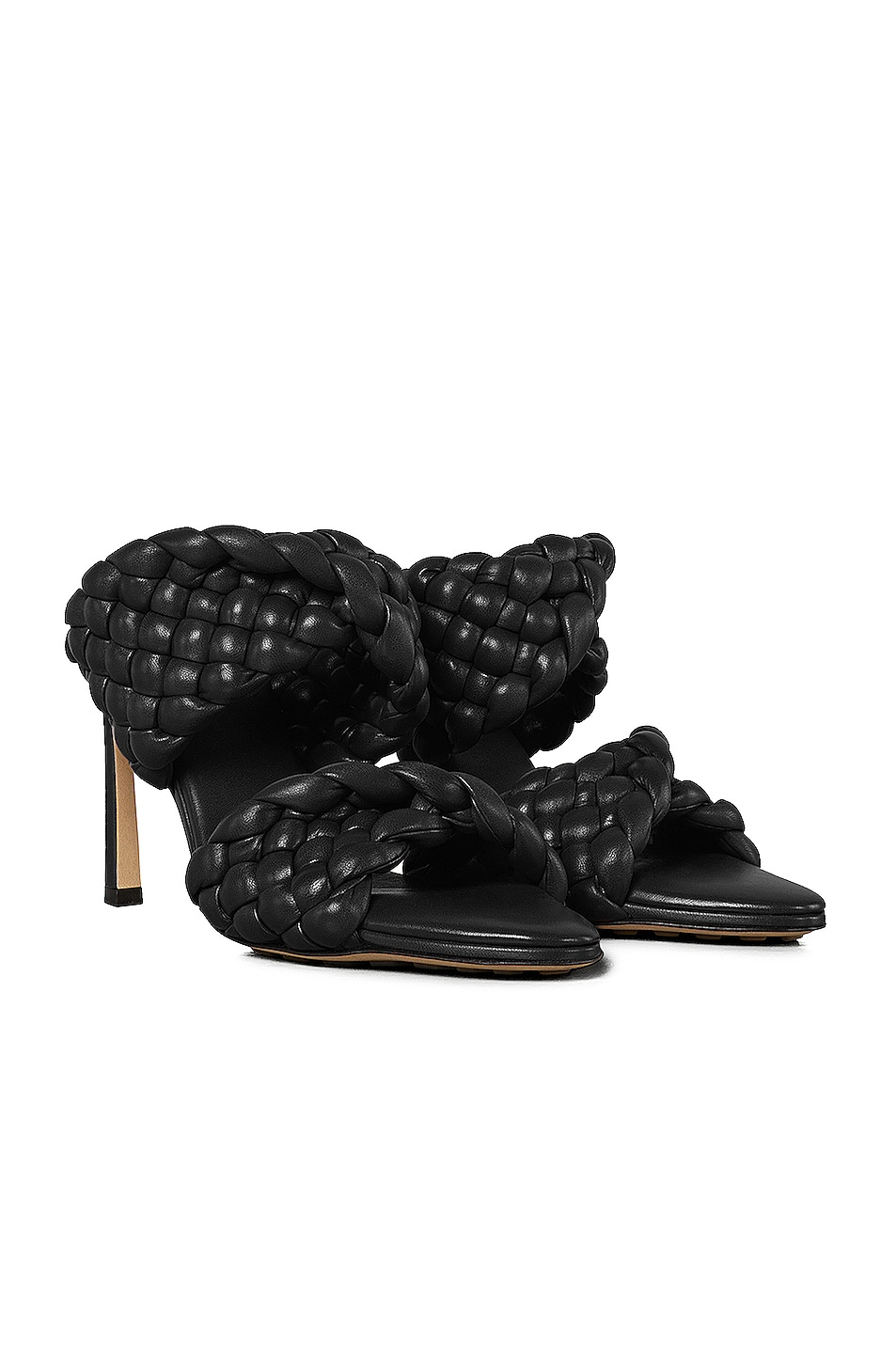 Image 2 of Bottega Veneta Padded Woven Leather Sandals in Black