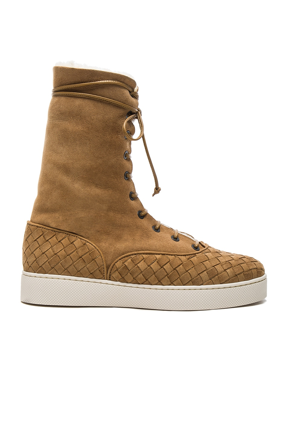 Image 1 of Bottega Veneta Suede Lace Up Boots in Camel