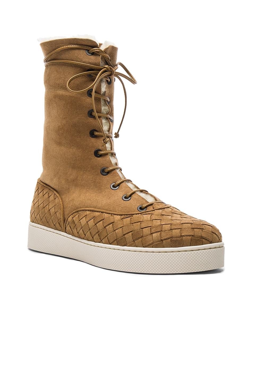 Image 2 of Bottega Veneta Suede Lace Up Boots in Camel