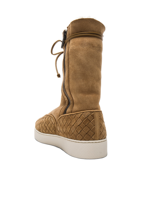 Image 3 of Bottega Veneta Suede Lace Up Boots in Camel