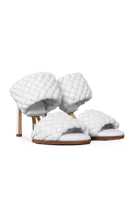 Image 2 of Bottega Veneta Lido Leather Woven Sandals in Optic White