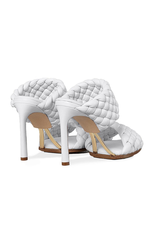 Image 3 of Bottega Veneta Lido Leather Woven Sandals in Optic White