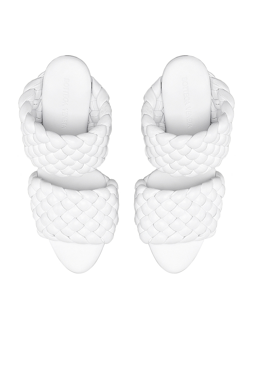 Image 4 of Bottega Veneta Lido Leather Woven Sandals in Optic White