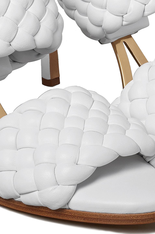 Image 5 of Bottega Veneta Lido Leather Woven Sandals in Optic White