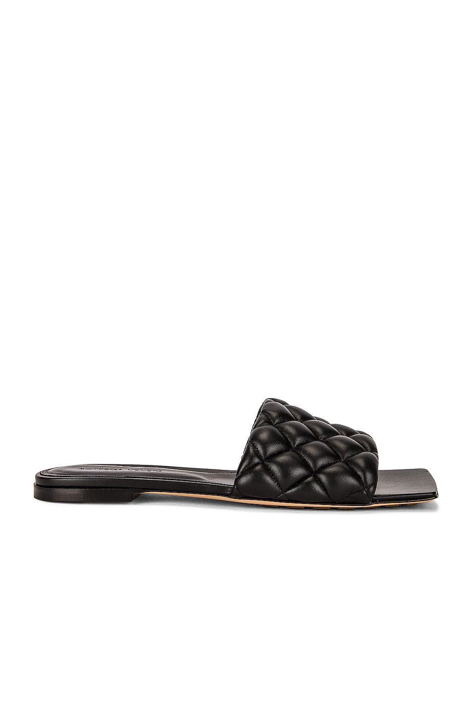 Image 1 of Bottega Veneta Flat Quilted Sandals in Black