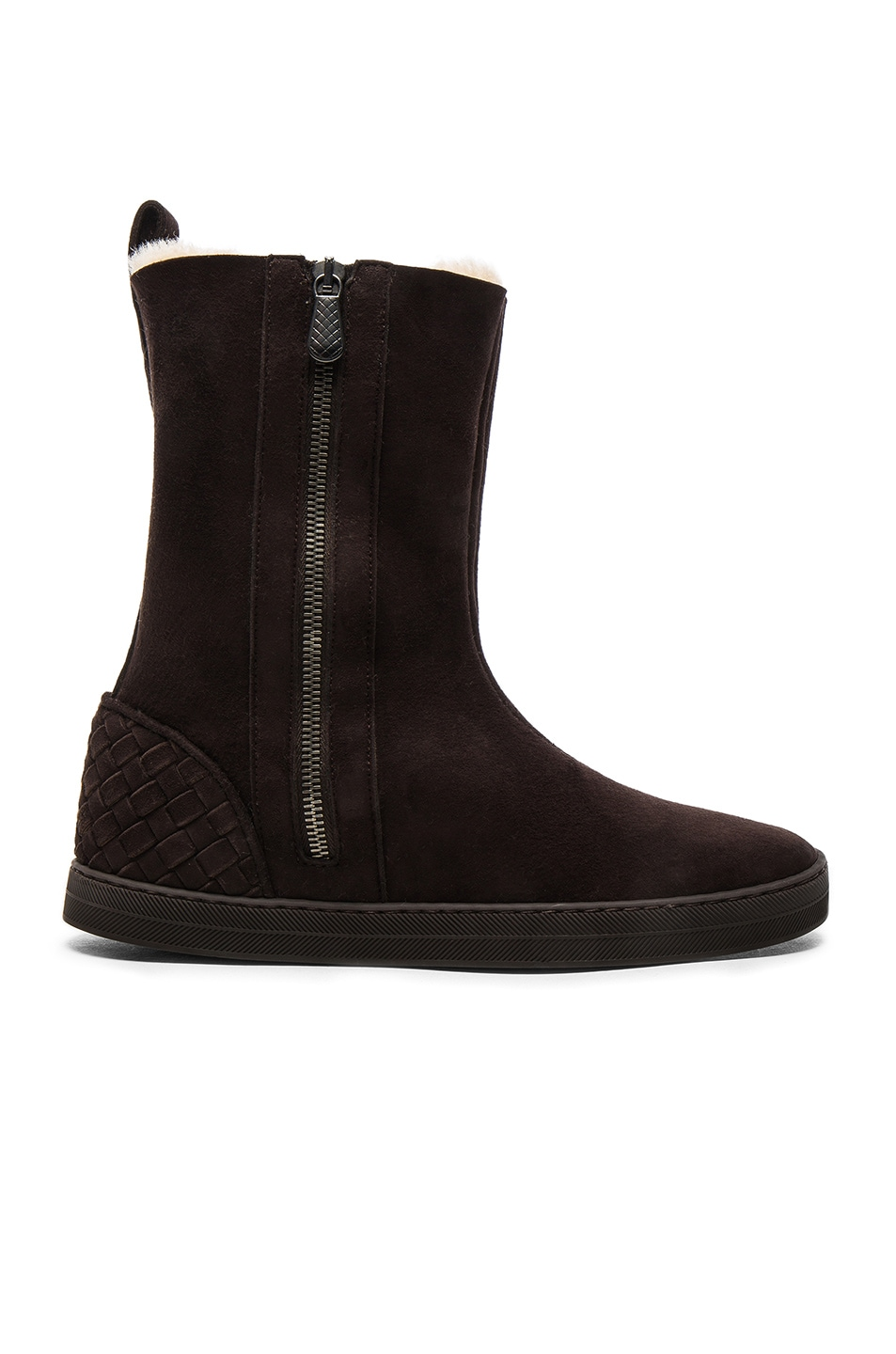 Image 1 of Bottega Veneta Fur Lined Suede Boots in Espresso