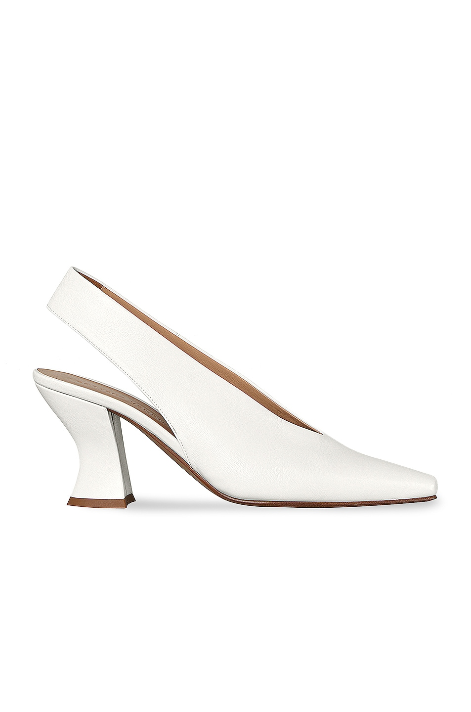 Image 1 of Bottega Veneta Almond Slingback Kitten Heels in Optic White