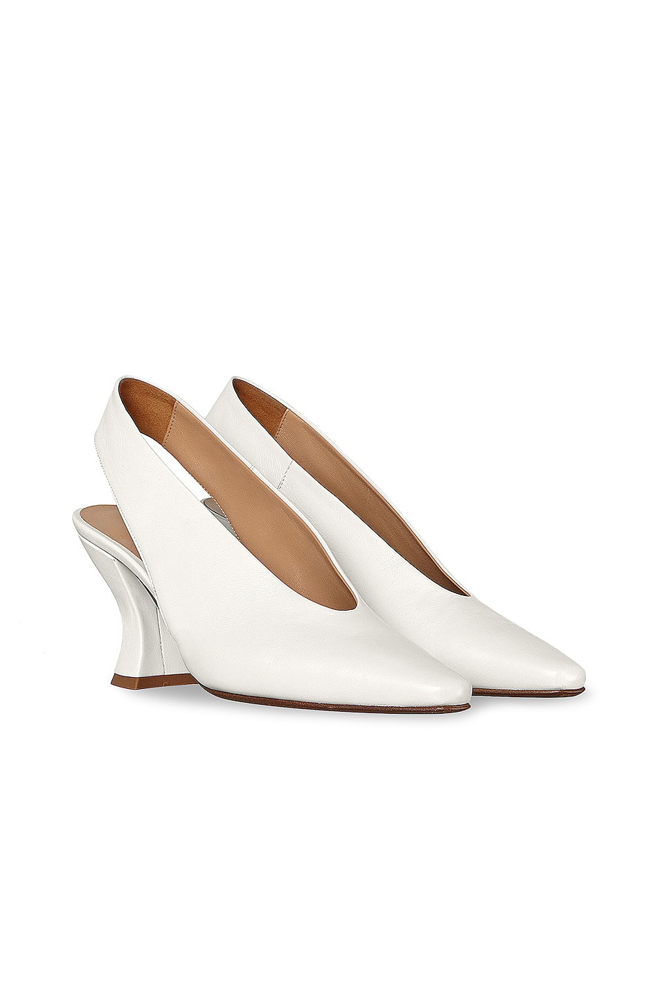 Image 2 of Bottega Veneta Almond Slingback Kitten Heels in Optic White