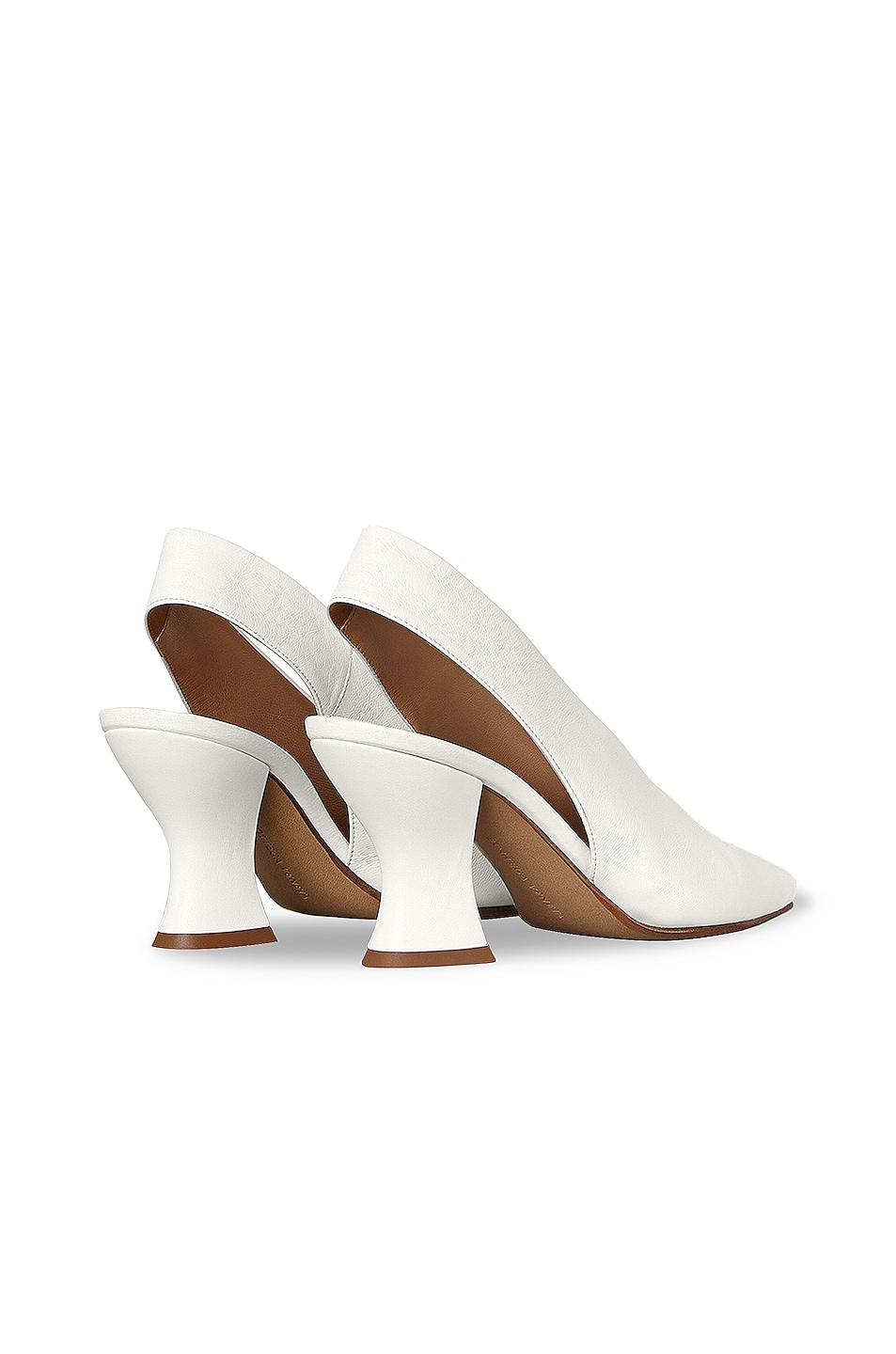 Image 3 of Bottega Veneta Almond Slingback Kitten Heels in Optic White