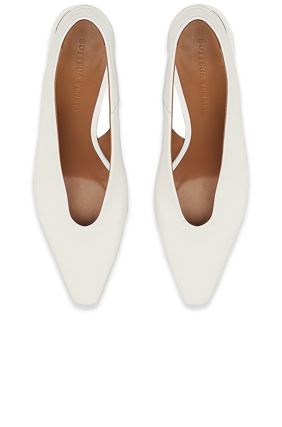 Image 4 of Bottega Veneta Almond Slingback Kitten Heels in Optic White